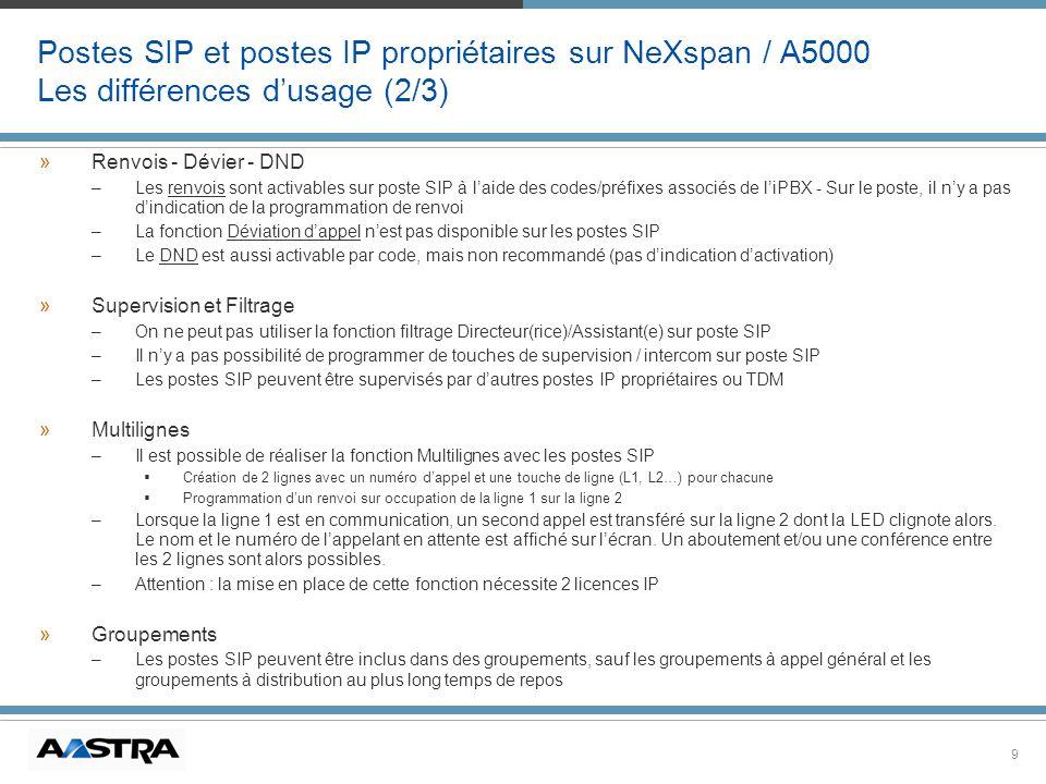 9 Postes SIP et postes IP propriétaires sur NeXspan / A5000 Les différences dusage (2/3) »Renvois - Dévier - DND –Les renvois sont activables sur post