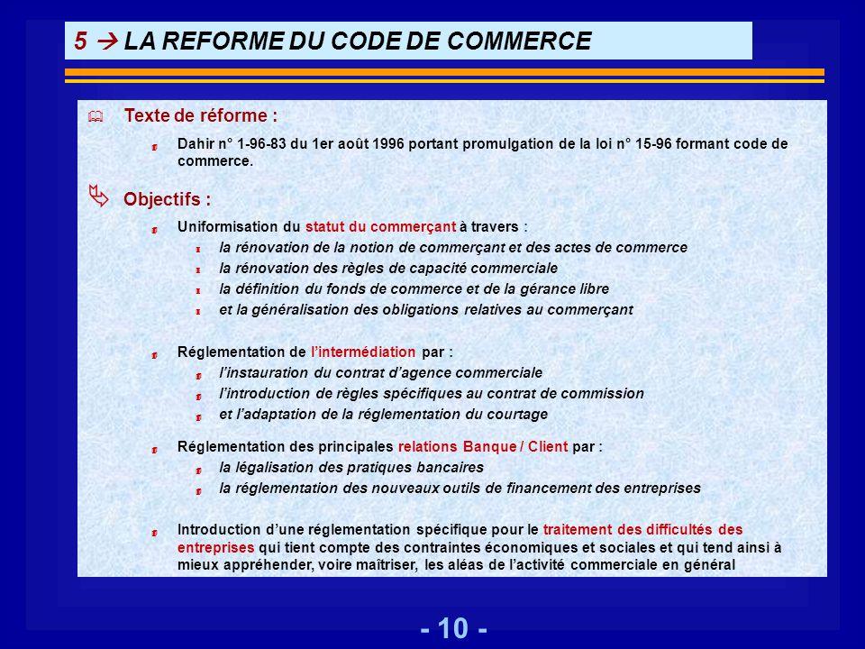 - 10 - 5 LA REFORME DU CODE DE COMMERCE Texte de réforme : 4 Dahir n° 1-96-83 du 1er août 1996 portant promulgation de la loi n° 15-96 formant code de