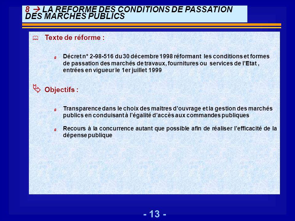 - 13 - 8 LA REFORME DES CONDITIONS DE PASSATION DES MARCHES PUBLICS Texte de réforme : 4 Décret n° 2-98-516 du 30 décembre 1998 réformant les conditio