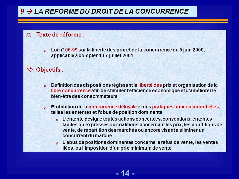 - 14 - 9 LA REFORME DU DROIT DE LA CONCURRENCE Texte de réforme : 4 Loi n° 06-99 sur la liberté des prix et de la concurrence du 5 juin 2000, applicab