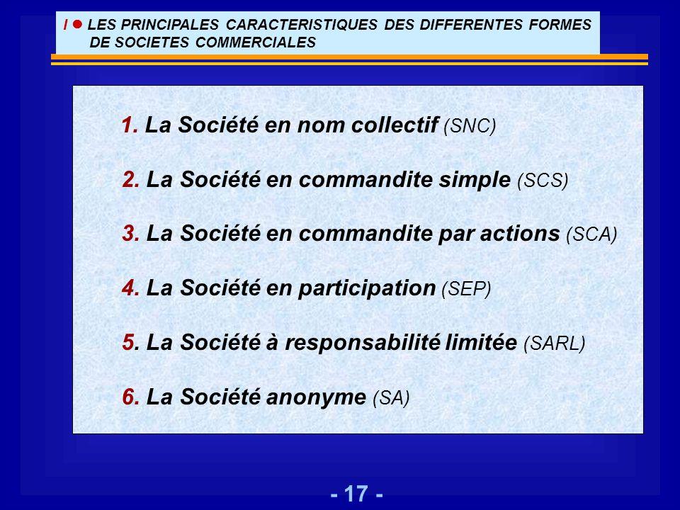 - 17 - I LES PRINCIPALES CARACTERISTIQUES DES DIFFERENTES FORMES DE SOCIETES COMMERCIALES 1. La Société en nom collectif (SNC) 2. La Société en comman