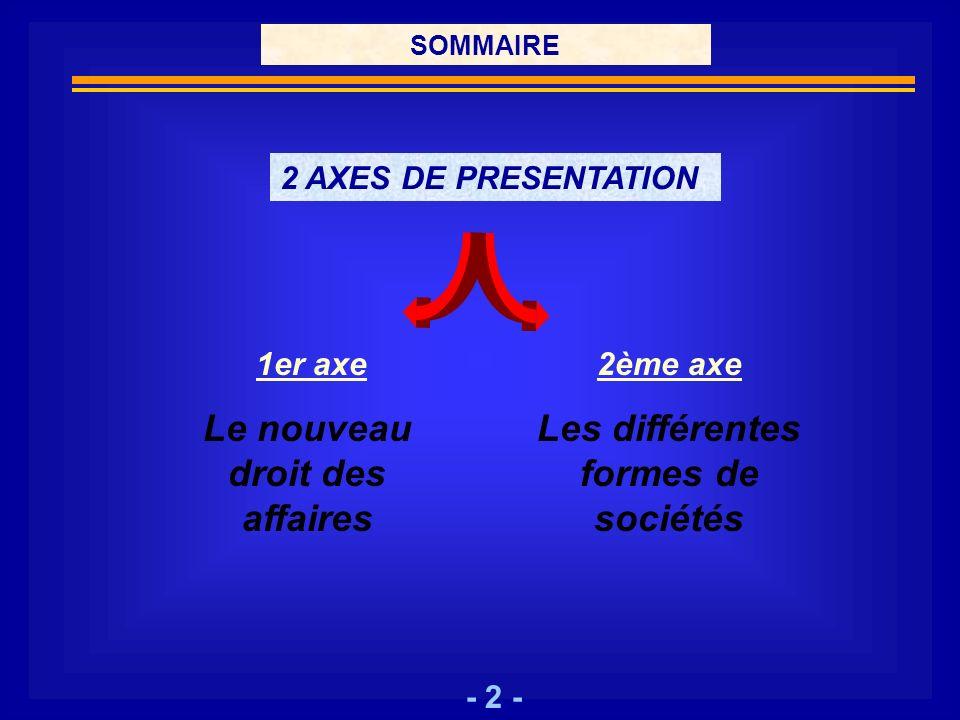 - 2 - SOMMAIRE 2 AXES DE PRESENTATION 1er axe Le nouveau droit des affaires 2ème axe Les différentes formes de sociétés