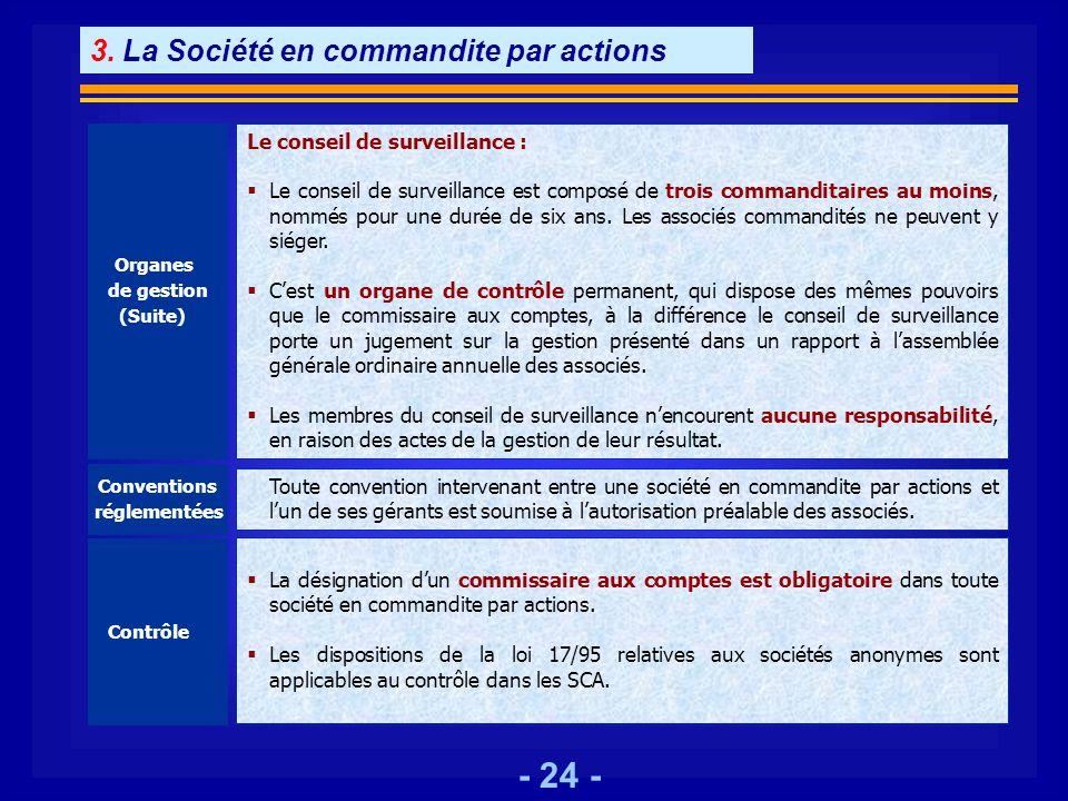 - 24 - Organes de gestion (Suite) Le conseil de surveillance : Le conseil de surveillance est composé de trois commanditaires au moins, nommés pour un