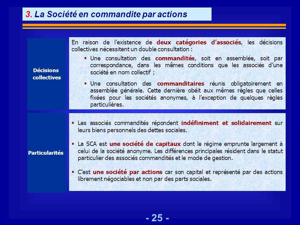 - 25 - Décisions collectives En raison de lexistence de deux catégories dassociés, les décisions collectives nécessitent un double consultation : Une