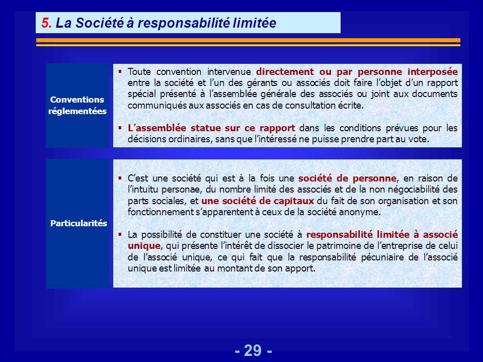 - 29 - Conventions réglementées Toute convention intervenue directement ou par personne interposée entre la société et lun des gérants ou associés doi