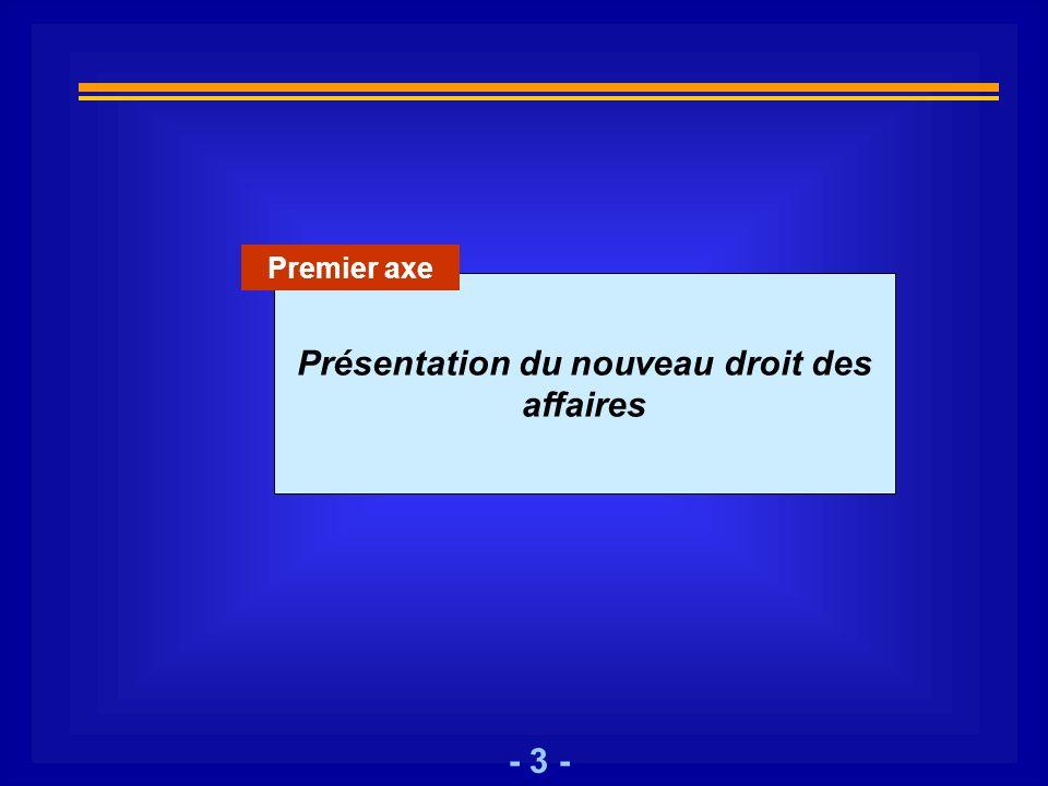 - 3 - Présentation du nouveau droit des affaires Premier axe
