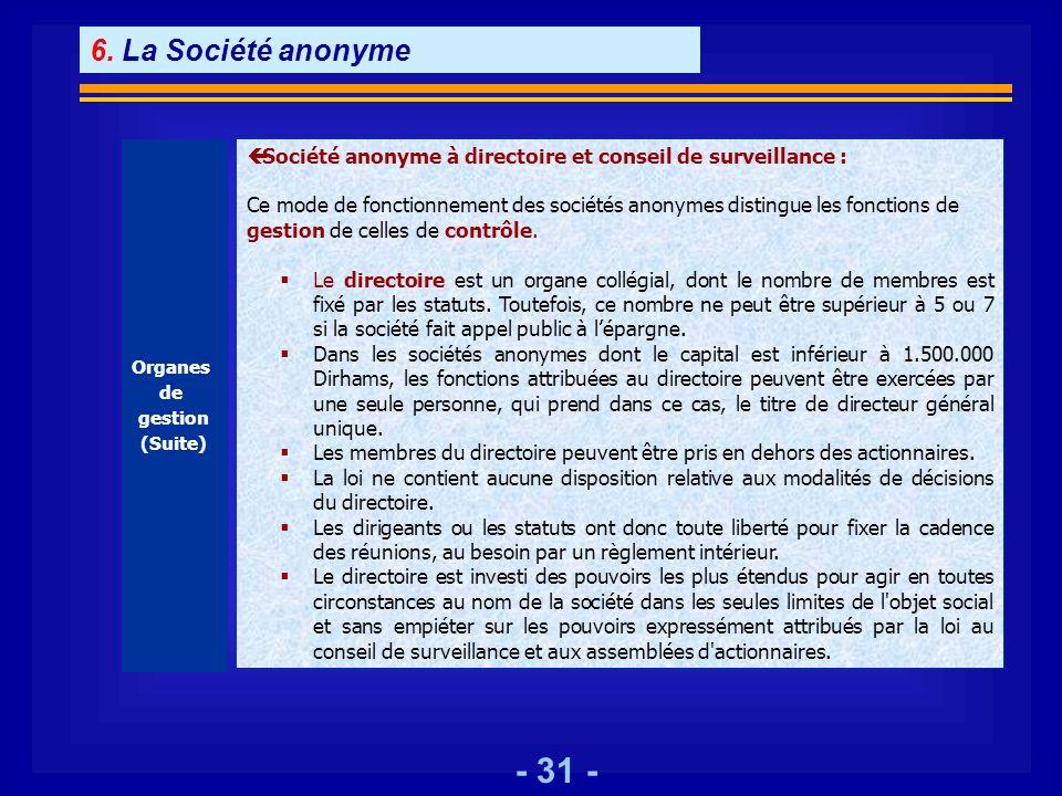 - 31 - Organes de gestion (Suite) ç Société anonyme à directoire et conseil de surveillance : Ce mode de fonctionnement des sociétés anonymes distingu