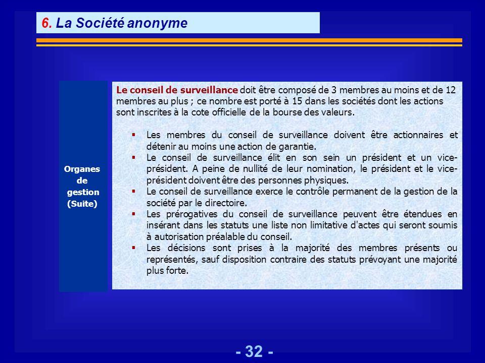 - 32 - Organes de gestion (Suite) Le conseil de surveillance doit être composé de 3 membres au moins et de 12 membres au plus ; ce nombre est porté à