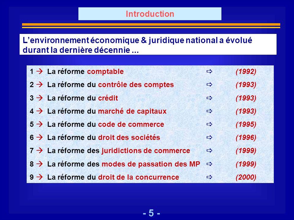 - 5 - Lenvironnement économique & juridique national a évolué durant la dernière décennie... 1 La réforme comptable (1992) 2 La réforme du contrôle de