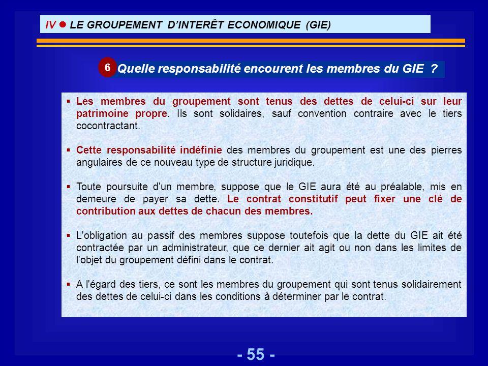 - 55 - Les membres du groupement sont tenus des dettes de celui-ci sur leur patrimoine propre. Ils sont solidaires, sauf convention contraire avec le