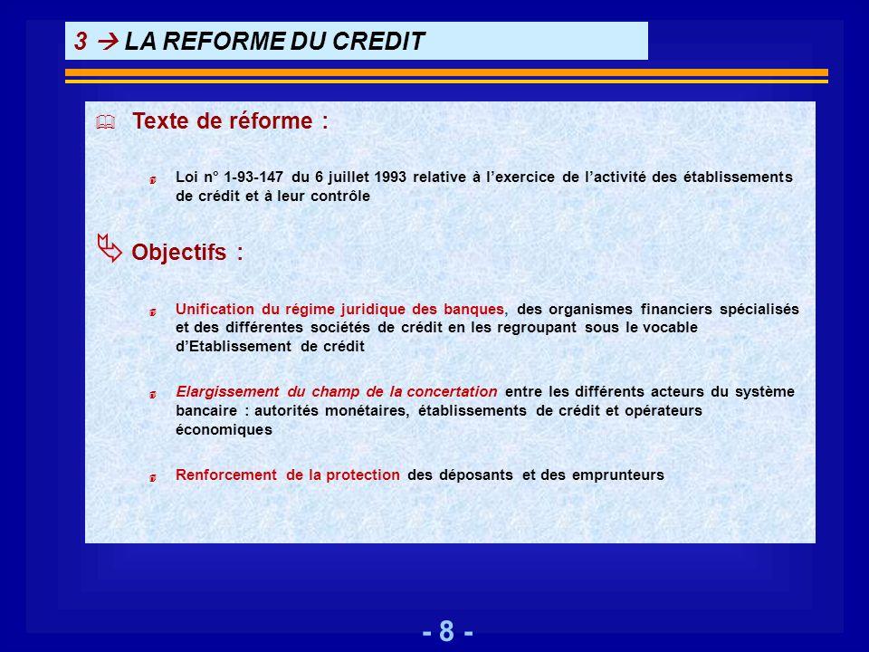 - 8 - 3 LA REFORME DU CREDIT Texte de réforme : 4 Loi n° 1-93-147 du 6 juillet 1993 relative à lexercice de lactivité des établissements de crédit et