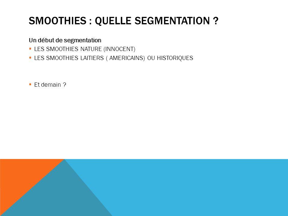 CARREFOUR ET LES SMOOTHIES Trois variétés Prix raisonnable (moins de 3 euros la bouteille) Marque : sélection Carrefour, positionnement haut de gamme MDD