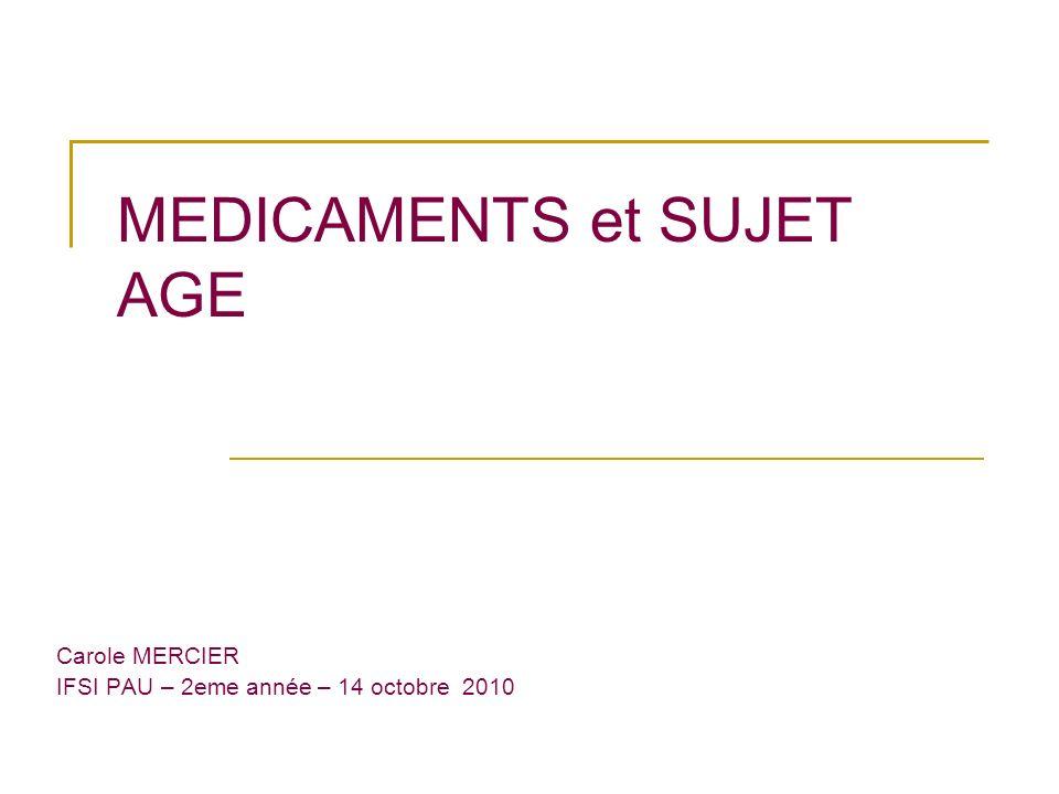 MEDICAMENTS et SUJET AGE Carole MERCIER IFSI PAU – 2eme année – 14 octobre 2010