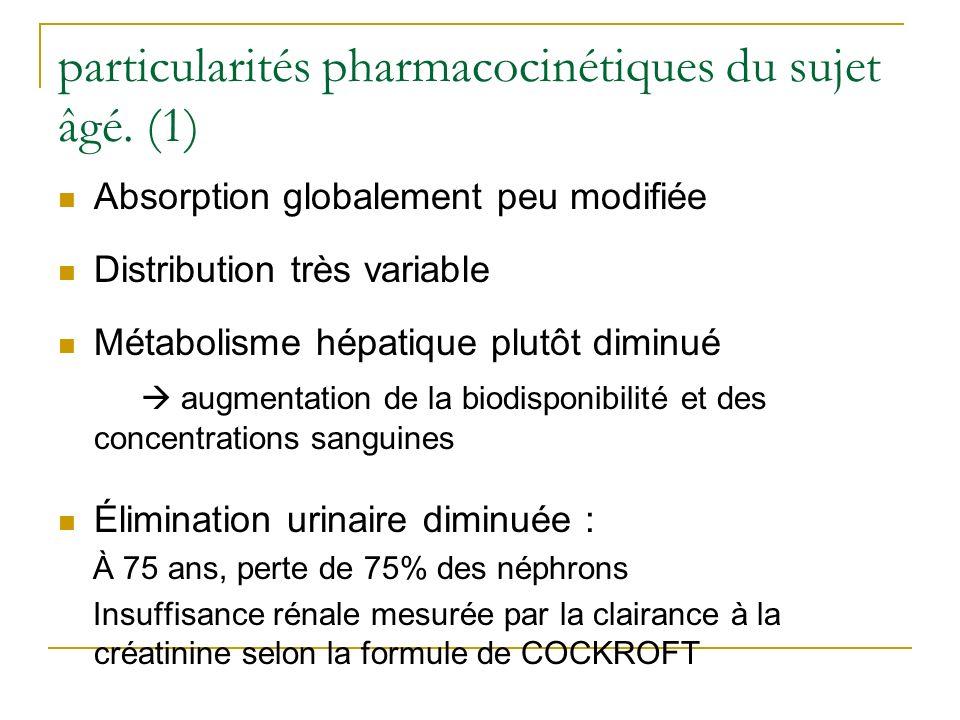 particularités pharmacocinétiques du sujet âgé. (1) Absorption globalement peu modifiée Distribution très variable Métabolisme hépatique plutôt diminu