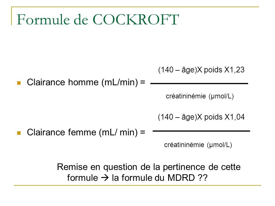 Formule de COCKROFT (140 – âge)X poids X1,23 Clairance homme (mL/min) = créatininémie (µmol/L) (140 – âge)X poids X1,04 Clairance femme (mL/ min) = cr