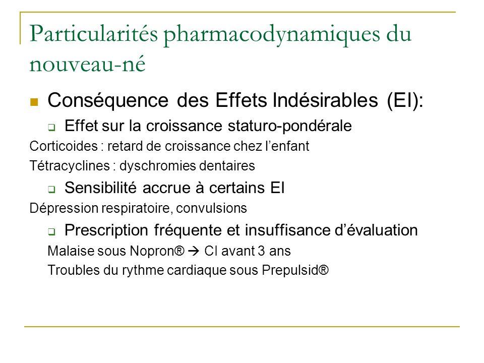 Particularités pharmacodynamiques du nouveau-né Conséquence des Effets Indésirables (EI): Effet sur la croissance staturo-pondérale Corticoides : reta