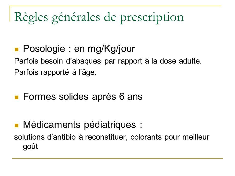 Règles générales de prescription Posologie : en mg/Kg/jour Parfois besoin dabaques par rapport à la dose adulte. Parfois rapporté à lâge. Formes solid