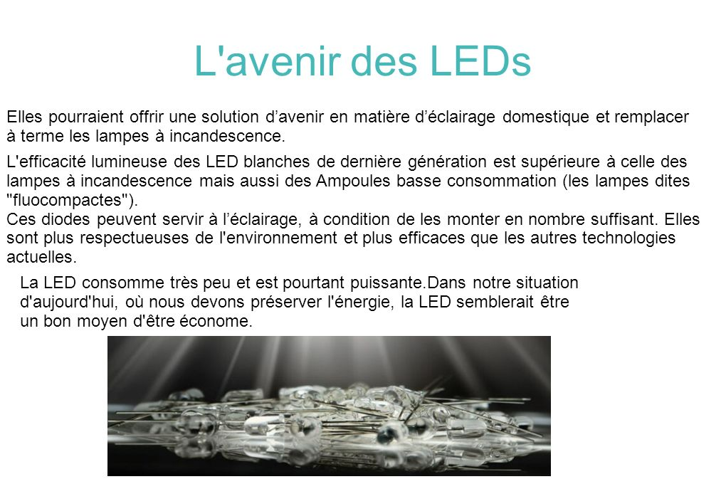 L'avenir des LEDs Elles pourraient offrir une solution davenir en matière déclairage domestique et remplacer à terme les lampes à incandescence. L'eff