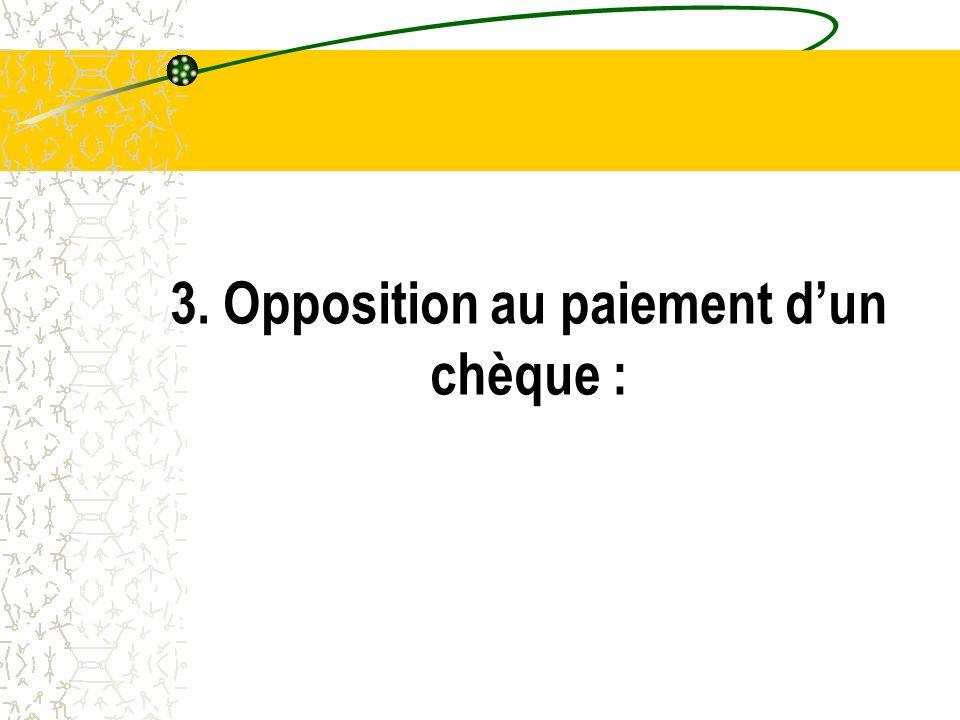 3. Opposition au paiement dun chèque :