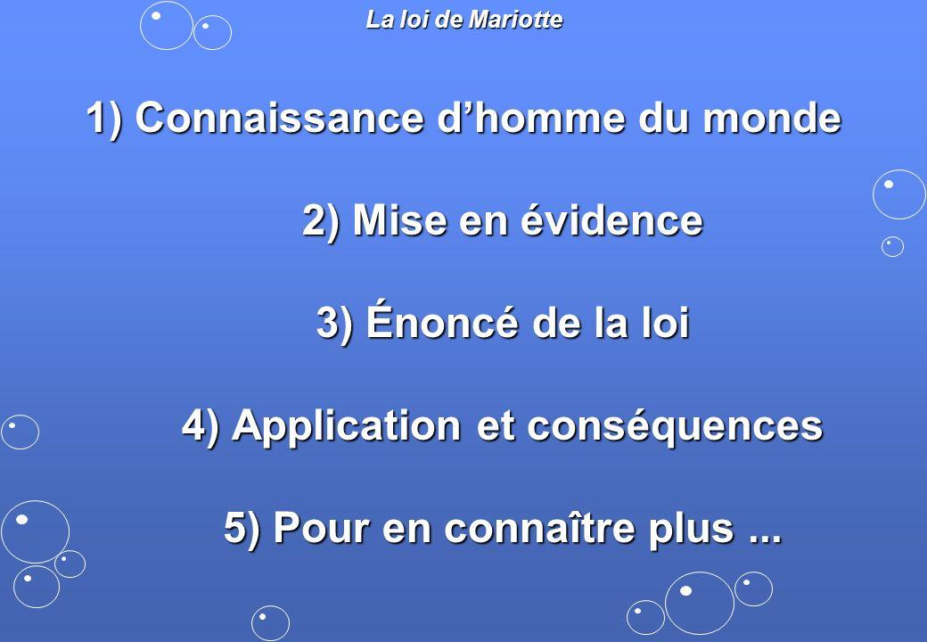 1) Connaissance dhomme du monde 2) Mise en évidence 3) Énoncé de la loi 4) Application et conséquences 5) Pour en connaître plus... La loi de Mariotte