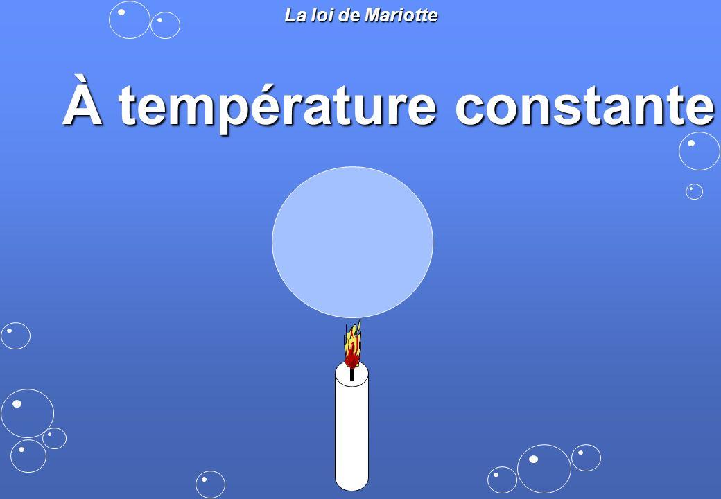 La loi de Mariotte À température constante