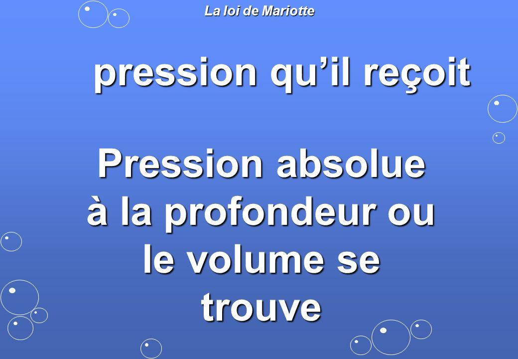 pression quil reçoit La loi de Mariotte Pression absolue à la profondeur ou le volume se trouve