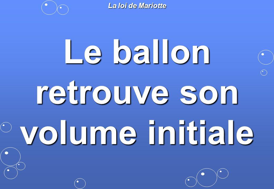 La loi de Mariotte Le ballon retrouve son volume initiale
