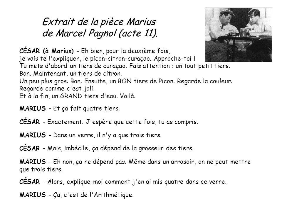Extrait de la pièce Marius de Marcel Pagnol (acte 11). CÉSAR (à Marius) - Eh bien, pour la deuxième fois, je vais te l'expliquer, le picon-citron-cura
