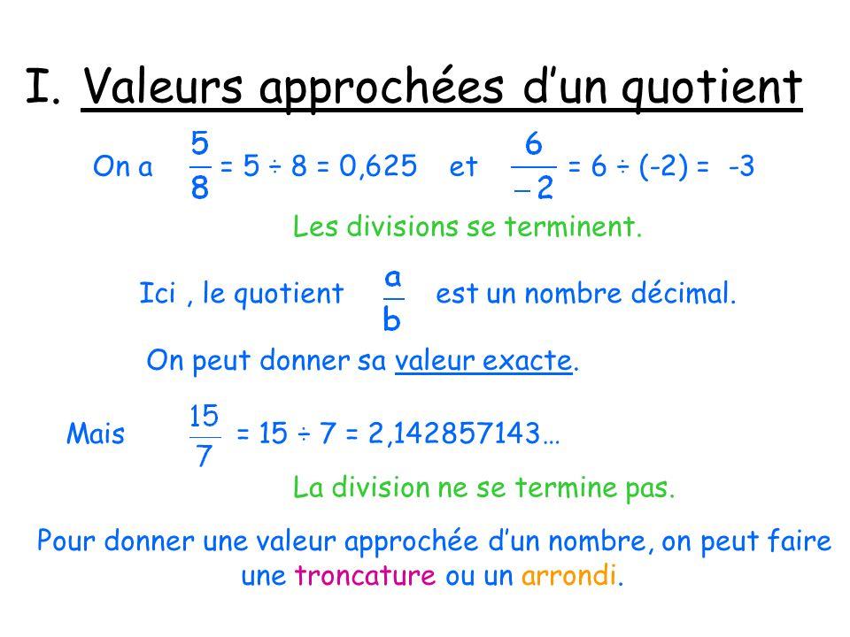 I.Valeurs approchées dun quotient On a = 5 ÷ 8 = 0,625 et = 6 ÷ (-2) = -3 Les divisions se terminent. Ici, le quotient est un nombre décimal. On peut