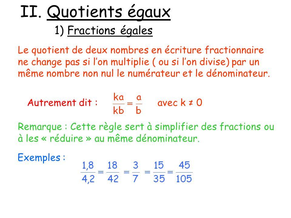 II. Quotients égaux 1) Fractions égales Autrement dit : Le quotient de deux nombres en écriture fractionnaire ne change pas si lon multiplie ( ou si l