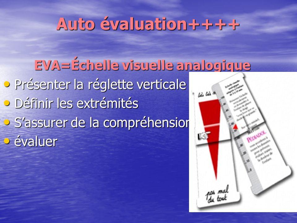 Auto évaluation++++ Auto évaluation++++ EVA=Échelle visuelle analogique EVA=Échelle visuelle analogique Présenter la réglette verticale Présenter la r
