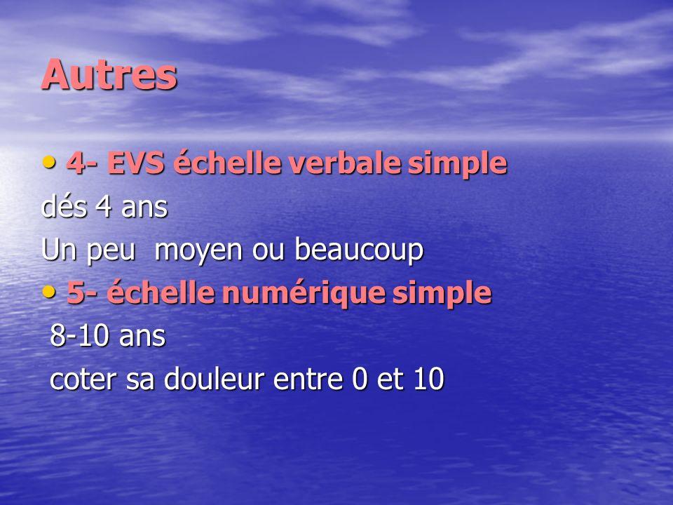 Autres 4- EVS échelle verbale simple 4- EVS échelle verbale simple dés 4 ans Un peu moyen ou beaucoup 5- échelle numérique simple 5- échelle numérique