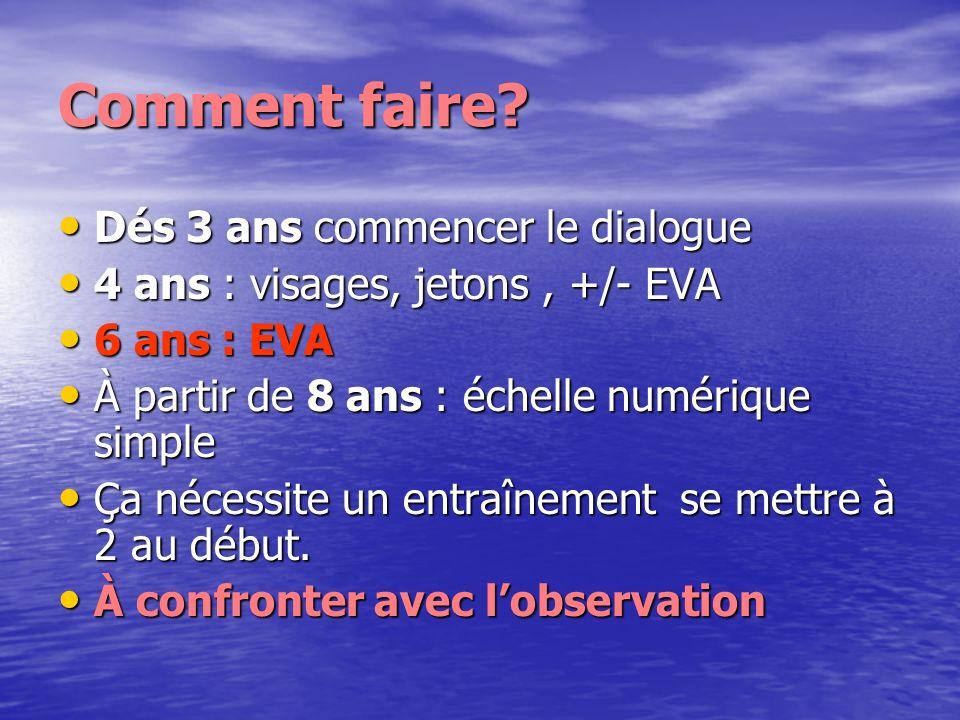 Comment faire? Dés 3 ans commencer le dialogue Dés 3 ans commencer le dialogue 4 ans : visages, jetons, +/- EVA 4 ans : visages, jetons, +/- EVA 6 ans