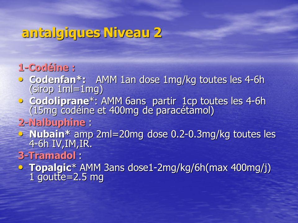 antalgiques Niveau 2 antalgiques Niveau 2 1-Codéine : Codenfan*: AMM 1an dose 1mg/kg toutes les 4-6h (sirop 1ml=1mg) Codenfan*: AMM 1an dose 1mg/kg to