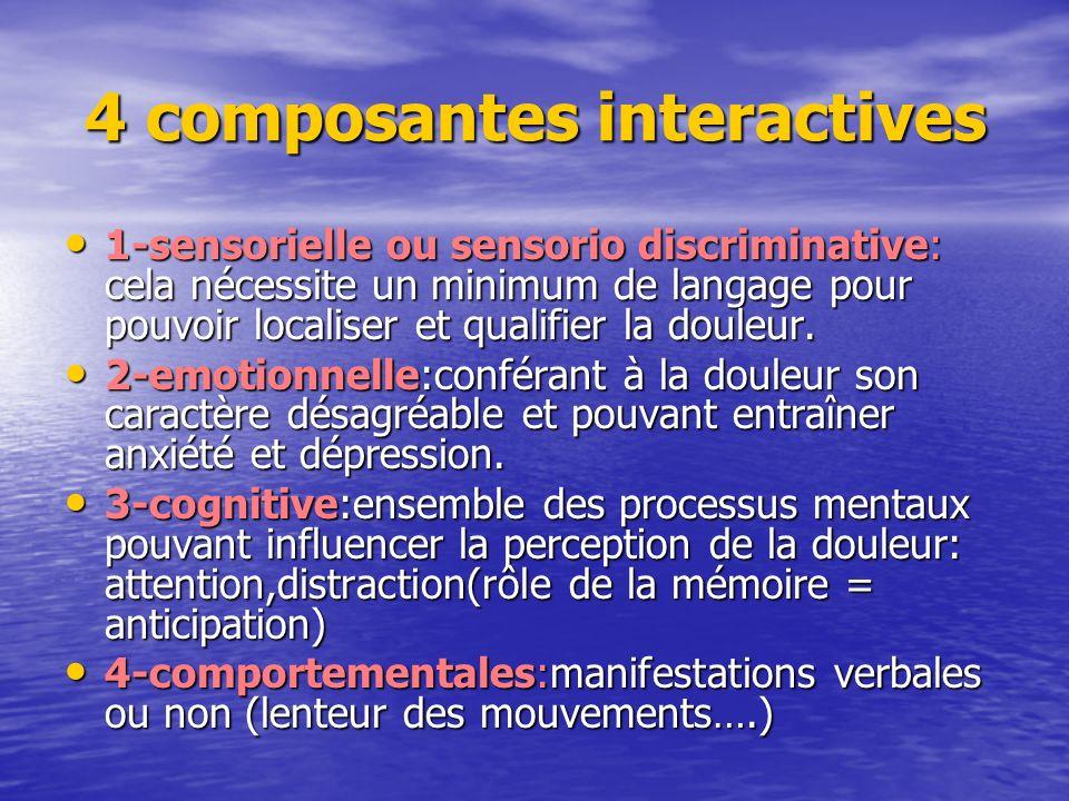4 composantes interactives 4 composantes interactives 1-sensorielle ou sensorio discriminative: cela nécessite un minimum de langage pour pouvoir loca