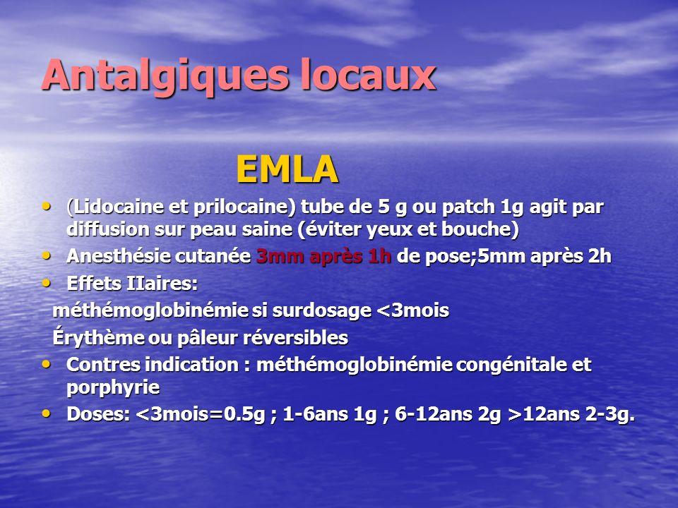 Antalgiques locaux EMLA EMLA (Lidocaine et prilocaine) tube de 5 g ou patch 1g agit par diffusion sur peau saine (éviter yeux et bouche) (Lidocaine et