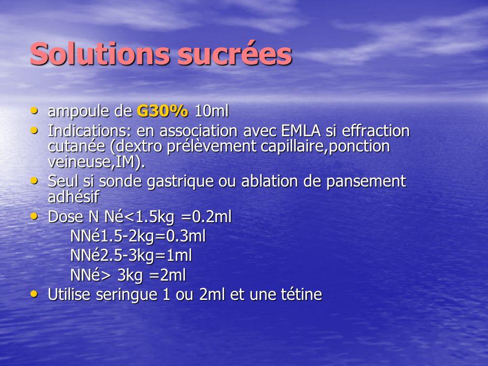 Solutions sucrées ampoule de G30% 10ml ampoule de G30% 10ml Indications: en association avec EMLA si effraction cutanée (dextro prélèvement capillaire