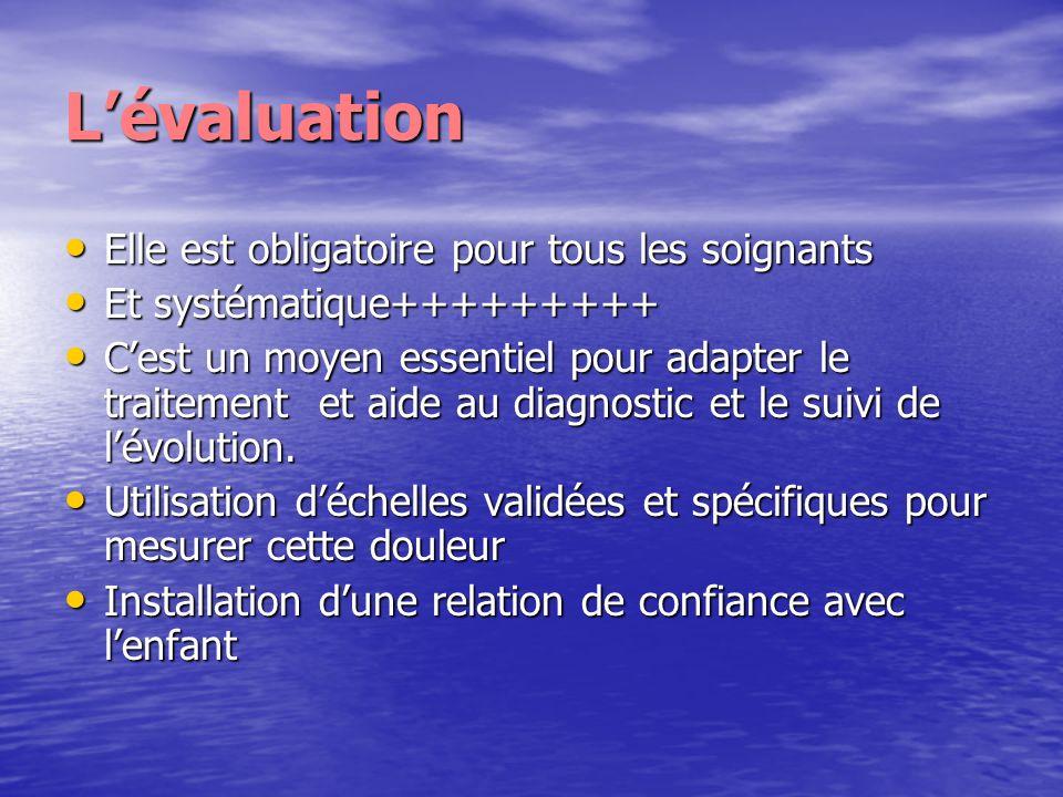 Lévaluation Elle est obligatoire pour tous les soignants Elle est obligatoire pour tous les soignants Et systématique+++++++++ Et systématique++++++++
