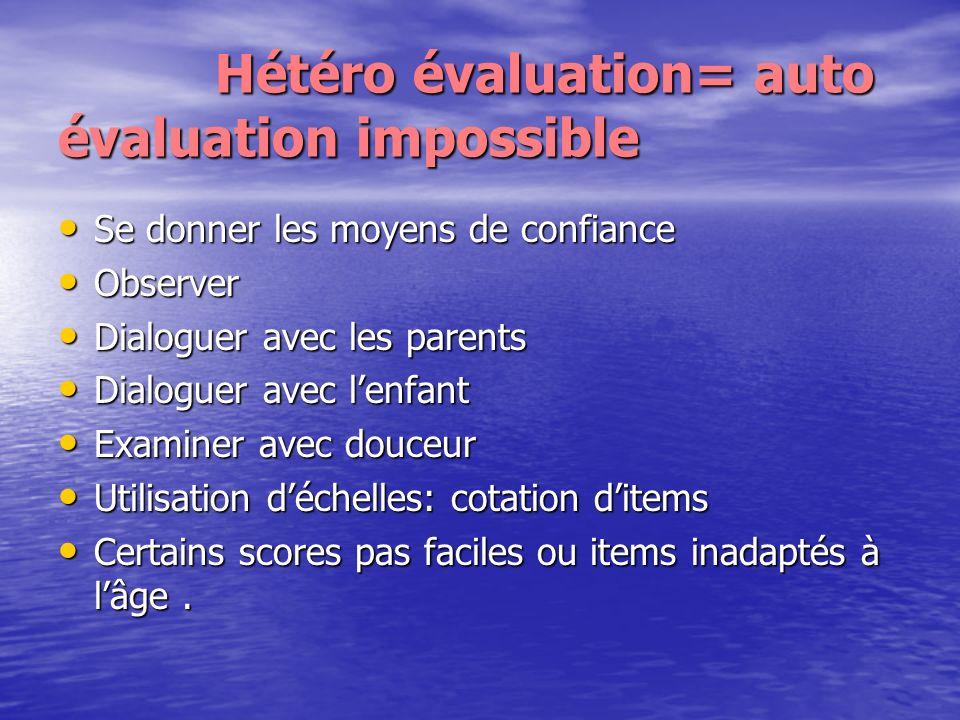 Hétéro évaluation= auto évaluation impossible Hétéro évaluation= auto évaluation impossible Se donner les moyens de confiance Se donner les moyens de