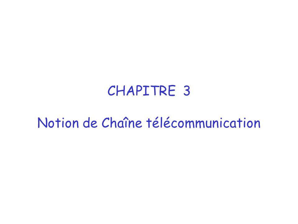 CHAPITRE 3 Notion de Chaîne télécommunication
