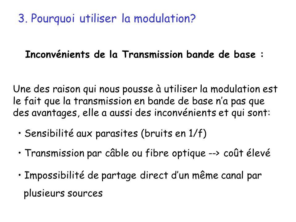 Une des raison qui nous pousse à utiliser la modulation est le fait que la transmission en bande de base na pas que des avantages, elle a aussi des in