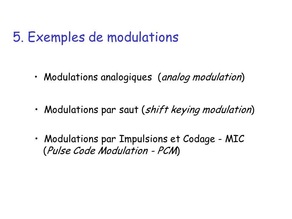 5. Exemples de modulations Modulations analogiques (analog modulation) Modulations par saut (shift keying modulation) Modulations par Impulsions et Co