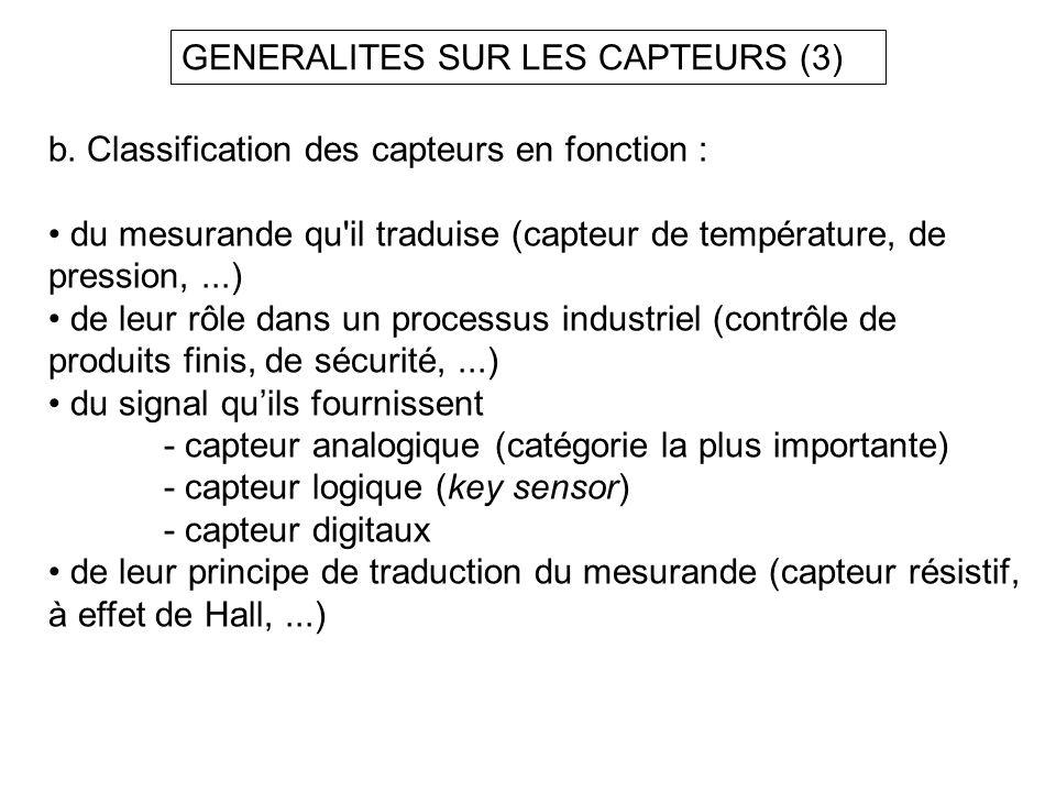 GENERALITES SUR LES CAPTEURS (3) b. Classification des capteurs en fonction : du mesurande qu'il traduise (capteur de température, de pression,...) de