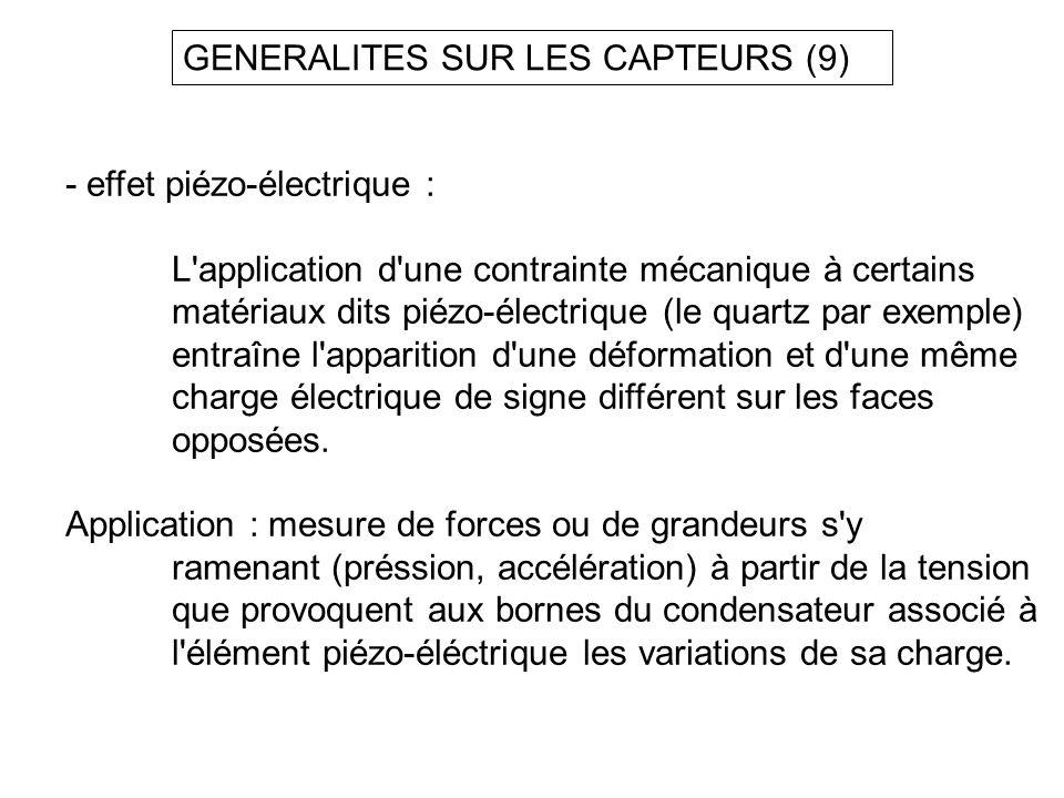 GENERALITES SUR LES CAPTEURS (9) - effet piézo-électrique : L'application d'une contrainte mécanique à certains matériaux dits piézo-électrique (le qu