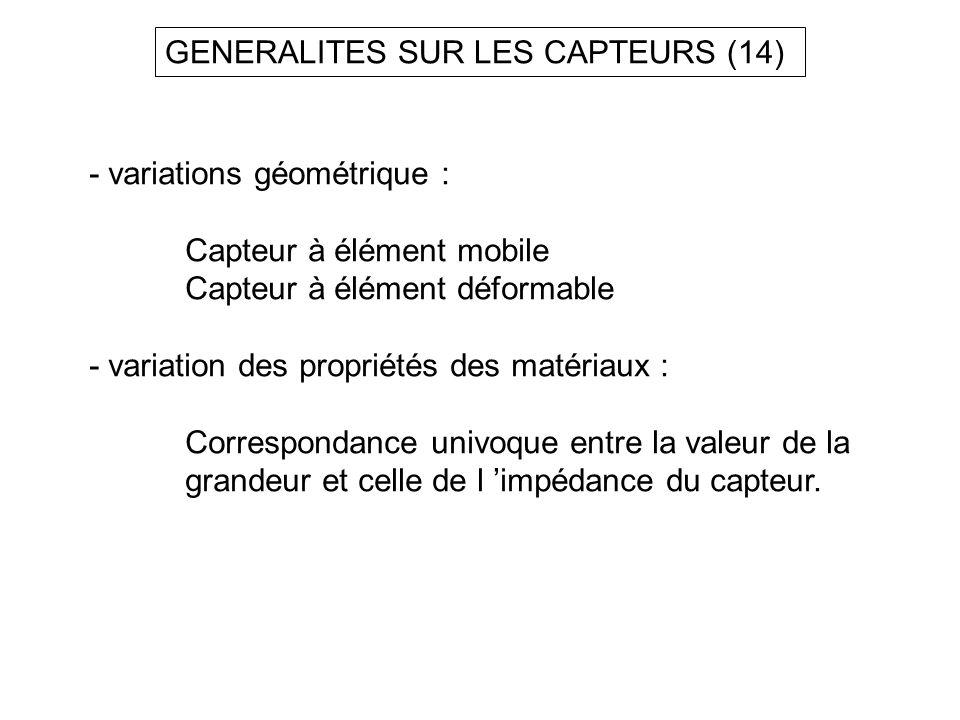 GENERALITES SUR LES CAPTEURS (14) - variations géométrique : Capteur à élément mobile Capteur à élément déformable - variation des propriétés des maté