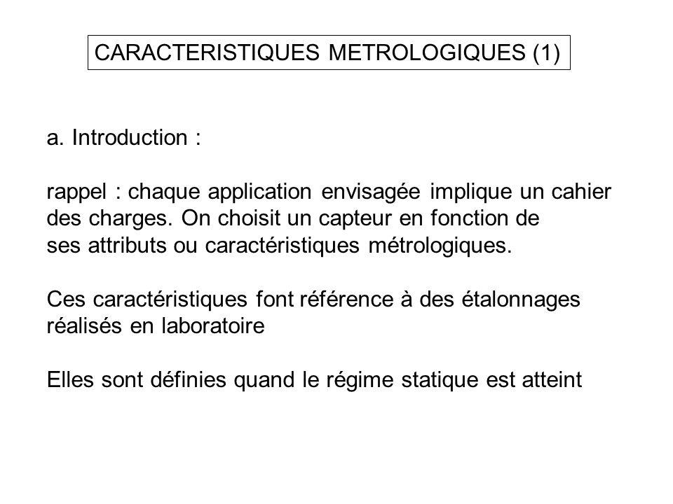 CARACTERISTIQUES METROLOGIQUES (1) a.Introduction : rappel : chaque application envisagée implique un cahier des charges. On choisit un capteur en fon