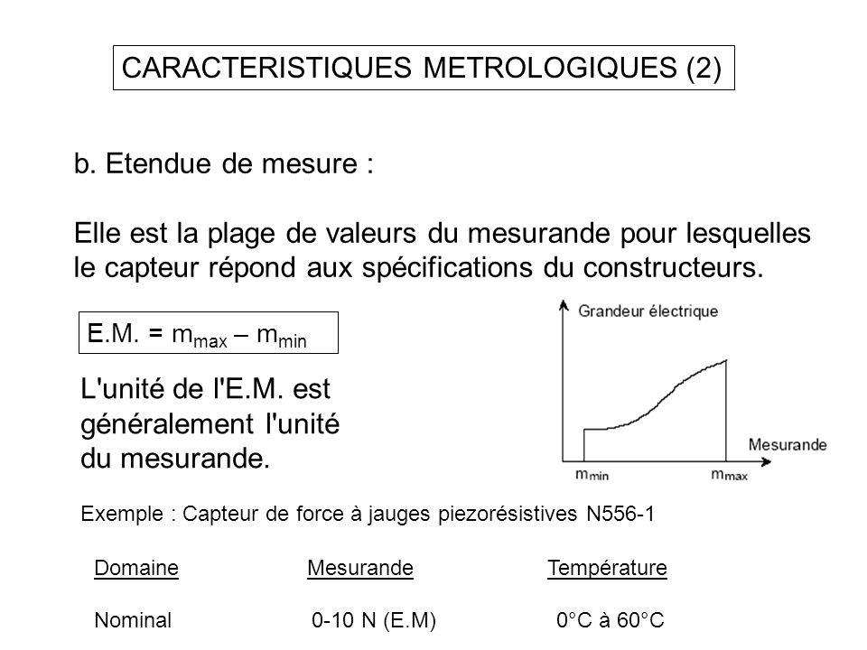 CARACTERISTIQUES METROLOGIQUES (2) b. Etendue de mesure : Elle est la plage de valeurs du mesurande pour lesquelles le capteur répond aux spécificatio