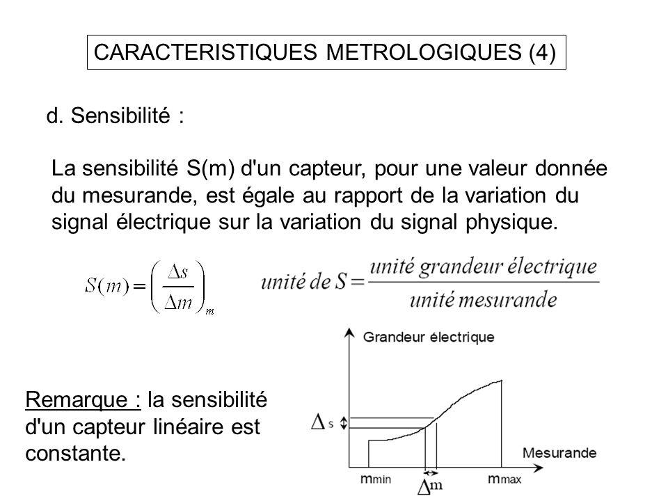 CARACTERISTIQUES METROLOGIQUES (4) d. Sensibilité : La sensibilité S(m) d'un capteur, pour une valeur donnée du mesurande, est égale au rapport de la