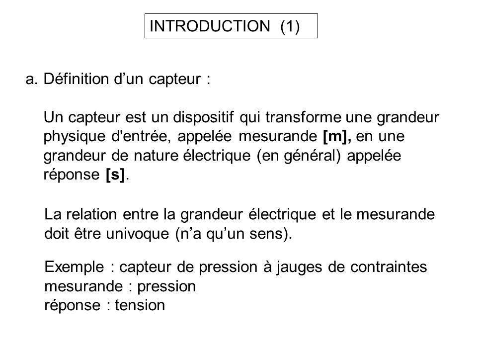 a.Définition dun capteur : Un capteur est un dispositif qui transforme une grandeur physique d'entrée, appelée mesurande [m], en une grandeur de natur