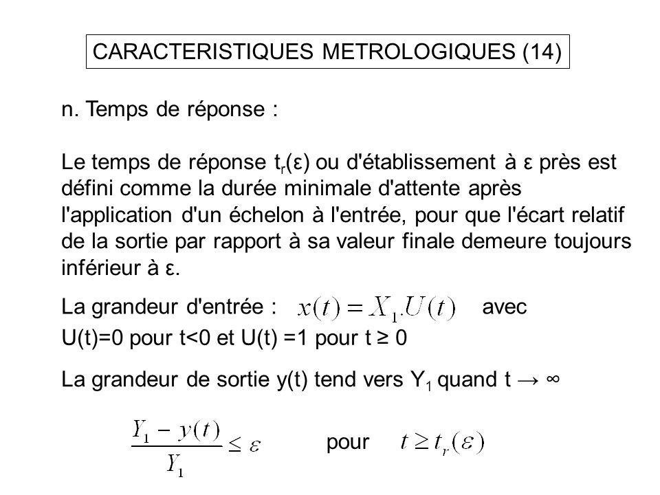 CARACTERISTIQUES METROLOGIQUES (14) n. Temps de réponse : Le temps de réponse t r (ε) ou d'établissement à ε près est défini comme la durée minimale d